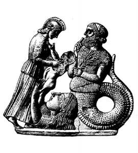 Gaia steigt aus dem Boden auf und übergibt Erichthonios an Athene. Rechts davon Kekrops. Melisches Relief um 460 v.Chr.[