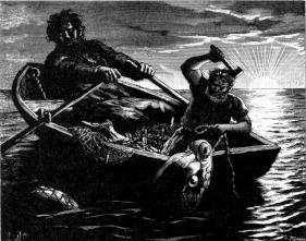 Thor und Hymir angeln die Midgarschlange